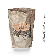 used recycle paper bag and tree stump picture