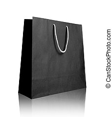 Black recycle paper shopping bag on white background ,...