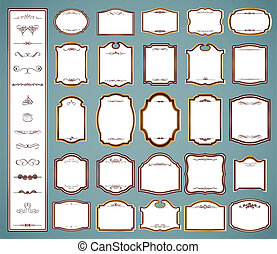 Labels frames and calligraphic elements. Vector set