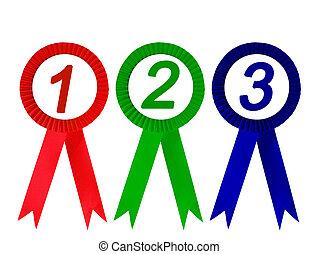 Ribbon award isolated - Red green and blue ribbon award...