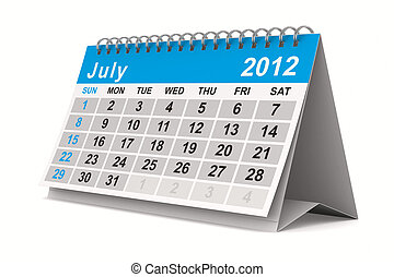 2012 year calendar July Isolated 3D image