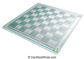 Chess board - Empty glass chess board on a white background