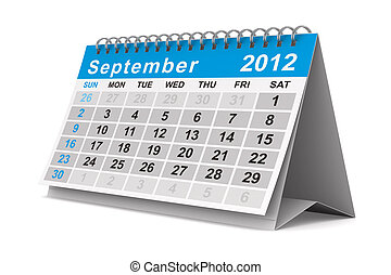 2012 year calendar September Isolated 3D image