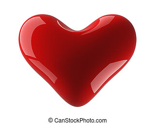 Isolated heart on a white background. 3D image.