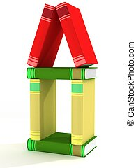 house constructed of books. 3D image.