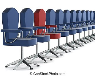 Row office armchairs on a white background. 3D image.