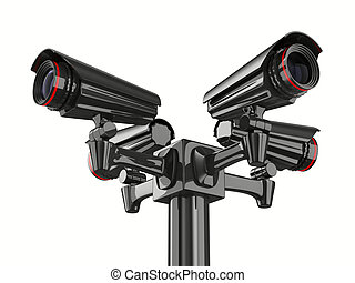 Four security camera on white background Isolated 3D image