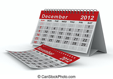 2012 year calendar December Isolated 3D image