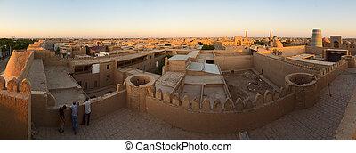 Khiva at sunset - Panoramic view of the Khiva Town....