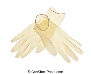 Latex gloves on white background - Pair of thin latex...