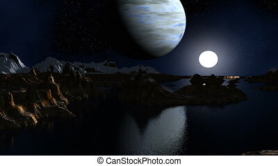 The gas giant and the moon against - The major blue planet...