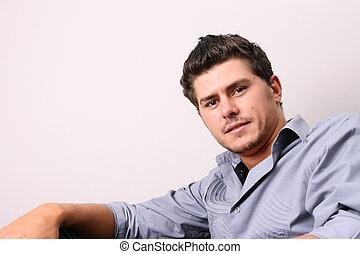 Male Model - Male model in studio against white wall