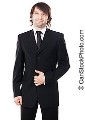 Elegant man in black suit against white background