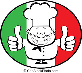 Chef - Cartoon smiling chef showing thumbs up on italian...