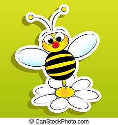 Bee with daisy - Bee and daisy - Card for kids - Scrapbook...