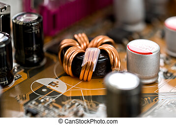 electronic components - close up of electronic components on...