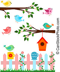 Birds - Cartoon illustration of birds with bird house