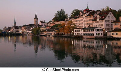 Zurich, Switzerland - Swiss city Zurich at dawn
