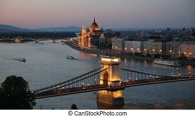 Budapest, Hungary - The Szechenyi Chain Bridge Lanchid and...