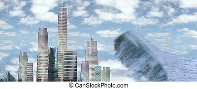 sky scrapers with tidal wave - a view of a city about to be...