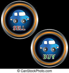 Buttons sell and buy - Buttons to sell and buy with cars on...