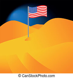 American flag - The American flag in the desert in abstract...