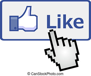 Pixelated hand on like button - Pixelated hand clicking on...