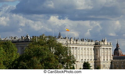 Madrid, Spain - The Royal Palace - Spanish Flag on the Royal...