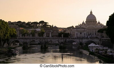 Rome and the Vatican at dusk - Basilica of Saint Peter in...