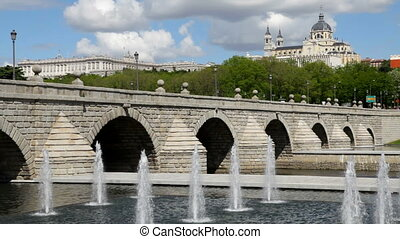 Madrid, Spain - Madrid - Segovia Bridge, the Royal Palace...