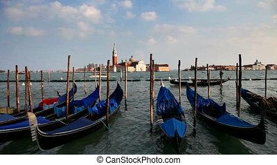 Venice, Italy - Gondolas and San Giorgio Maggiore Island,...
