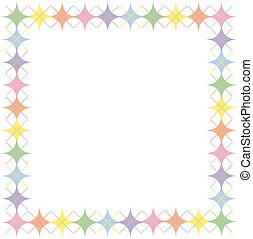 Pastel Rainbow Argyle Stars Border