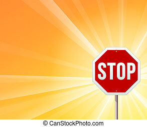 Stop Sign and Sunshine - Classic red STOP roadsign on yellow...