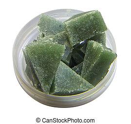 Sugar scrub - Green handmade sugar scrub in the form of...