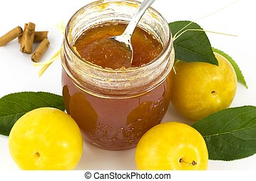plum jam and cinnamon- marmalade - jam seasonal fruits and...