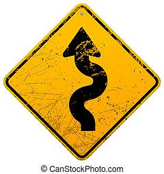 Vintage winding roadsign