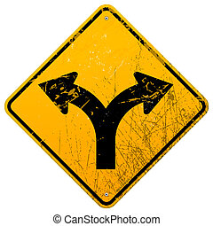 Forked road sign - Damaged yellow metallinc roadsign with...