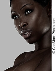 Portrait of an African beauty wearing subtle make up to...