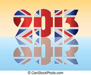 nuevo, año, 2013, londres, inglaterra, bandera,...