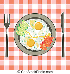 Fried eggs in a plate