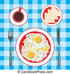 Fried eggs in a plate, coffee and b