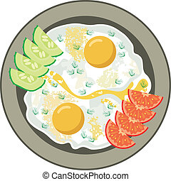 Fried eggs with vegetables - Vector illustration. It is...