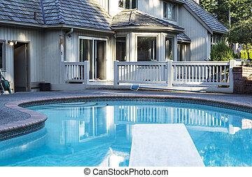 Backyard heated Swimming Pool - Heated outdoor swimming pool...