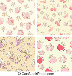 set of retro fruit seamlesses