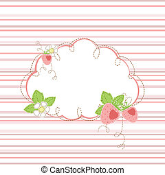 kid greeting card with strawberry - kid girl stripe...