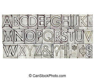 alphabet in metal type - English alphabet, dollar, cent and...
