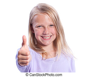 Happy Young Girl Giving Thumbs-up - Isolated on White