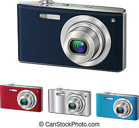 Digital camera isolated, vector illustration.