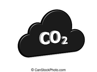 CO2 cloud - Rendered artwork with white background