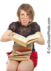 girl loudly close the book - sitting girl loudly close the...